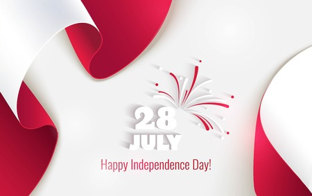28 july. Peru Happy Independence Day greeting card. Waving peruvian flags isolated on white background. Patriotic Symbolic background  Vector illustration Çizim