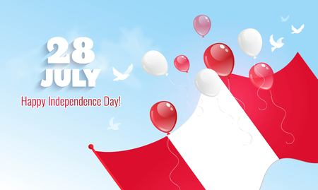 28 July. Peru Independence Day greeting card. Celebration background with flying balloons and waving flag. Vector illustration