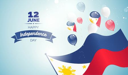 Philippines Independence Day greeting card. Celebration background with flying balloons and waving flag. Vector illustration Stock Illustratie