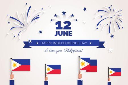 12 juni. Filippijnen Independence Day wenskaart. Vieringsachtergrond met vuurwerk, vlaggen en tekst. Vector illustratie