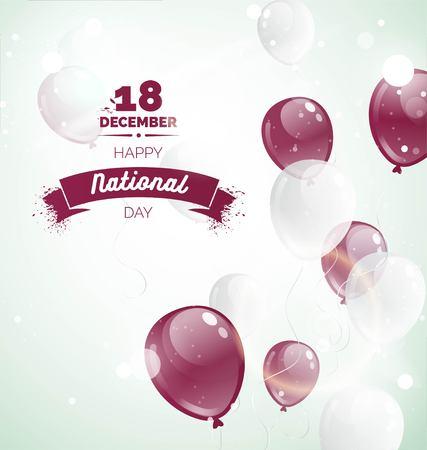 12 월 18 일. 카타르 독립 기념일 인사말 카드입니다. 풍선와 텍스트 비행 축 하 배경입니다. 벡터 일러스트 레이 션