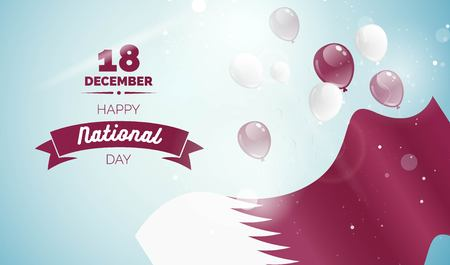 18 December. Qatar Independence Day greeting card. Celebration background with flying balloons and waving flag. Vector illustration