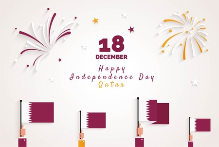 18 December. Qatar National Day greeting card. Celebration background with fireworks,  flags and text. Vector illustration