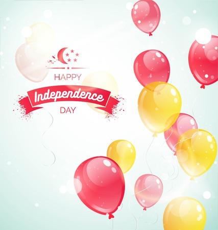 9 augustus. Singapore Onafhankelijkheidsdag wenskaart. Vieringsachtergrond met vliegende ballons en tekst. Vector illustratie