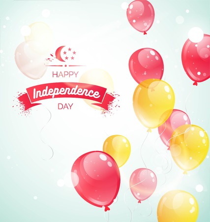 9 August. Singapore Independence Day greeting card. Celebration background  with flying balloons and text. Vector illustration Illustration
