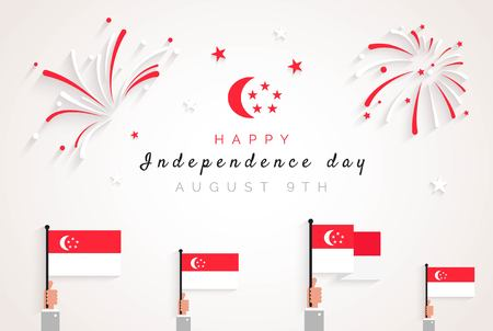 9 August. Singapore Independence Day greeting card. Celebration background with fireworks,  flags and text. Vector illustration Illustration