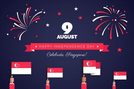 9 augustus. Singapore Onafhankelijkheidsdag wenskaart. Vieringsachtergrond met vuurwerk, vlaggen en tekst. Vector illustratie