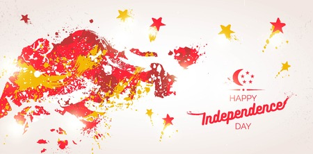 9 August. Singapore Independence Day greeting card. Celebration background with fireworks, map, stars and text. Vector illustration