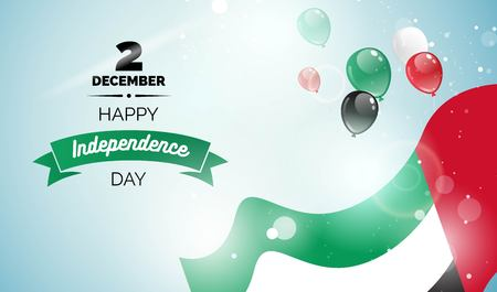 2 December. UAE Independence Day greeting card. Celebration background with flying balloons and waving flag. Vector illustration