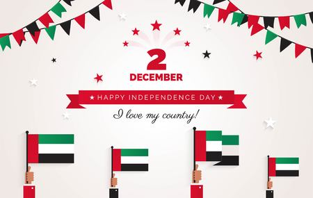 2 December. UAE Independence Day greeting card.   Holiday background with waving flags, ribbon and garlands. Vector flat illustration