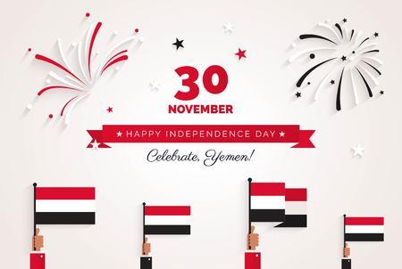 11月30日イエメン独立記念日グリーティングカード。花火、旗やテキストとお祝いの背景。ベクターイラスト