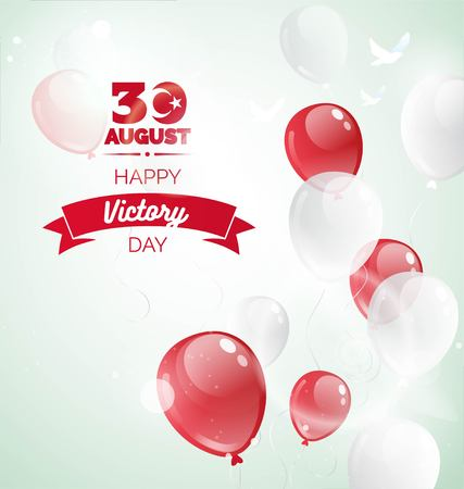 30 August zafer bayrami Victory day Turkey. Celebration background with flying balloons and text. Vector illustration