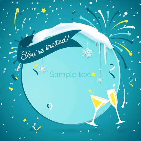 You are invited to christmas party. Let`s party. Lets celebrate. Invitation background on party time with snowflakes, wineglass, confetti and fireworks. Vector modern flat illustration Illustration