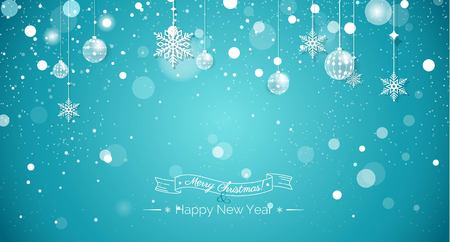 icicles: Merry christmas and Happy new year 2017 holiday sparkling background. Happy holidays banner with snowflakes and christmas decorations on blue sparkling background. Greeting card. Vector illustration.