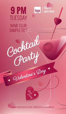 Valentines Day Cocktail Party Flyer with blurred background and martini cocktail.Vector illustration