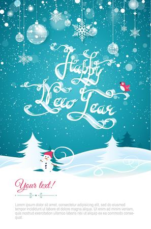 Happy new year 2017 greeting card.Happy new year lettering. Happy holidays banner with christmas decorations and snowbanks on blue sparkling background.  Vector illustration. Illustration
