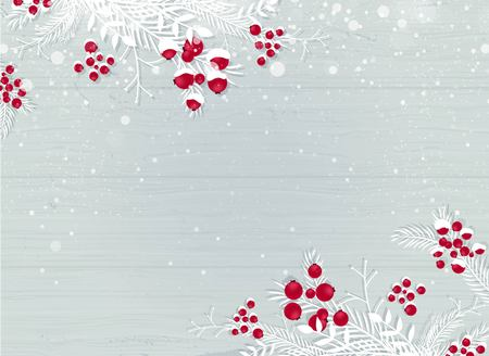 Winter wooden snowy background with white branches and berries - blue woodboard. Christmas wooden background with snow fir tree and copy space. Vector illustration Illusztráció