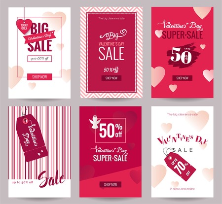 holiday shopping: Collection of  Valentines Day sale flyer templates with lettering and holiday symbols.  Poster, card, label, banner design set. Vector illustration