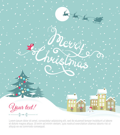 christmas postcard: Merry christmas card with your text space - Vector Illustration.Happy holiday card. Eps 8 file
