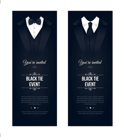 Two vertical Black Tie Event Invitations. Businessmen banners. Elegant black and white cards. Black banners set with businessman suits. Vector illustration