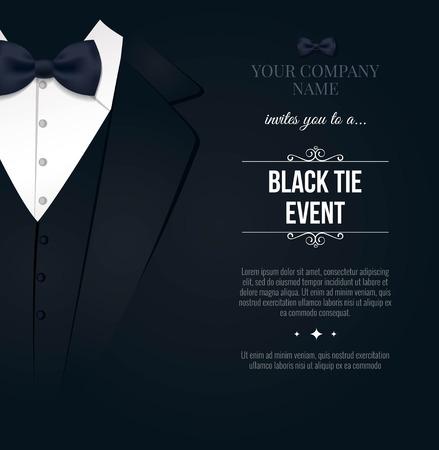 Invitation d'événement de cravate noire. Élégante carte noir et blanc. Illustration vectorielle