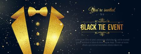 Horizontal Black Tie Event Invitation. Businessmen banner. Elegant black  card with golden sparkles.  Black banner with businessman suit. Vector illustration