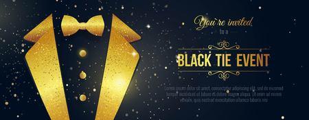 Invitation horizontale d'événement de cravate noire. Bannière d'hommes d'affaires. Carte noire élégante avec des étincelles d'or. Bannière noire avec costume d'homme d'affaires. Illustration vectorielle