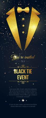 Invitación vertical del acontecimiento del lazo negro. Banner de los hombres de negocios. Tarjeta negra elegante con los destellos de oro. Bandera negra con traje de hombre de negocios. Ilustración del vector