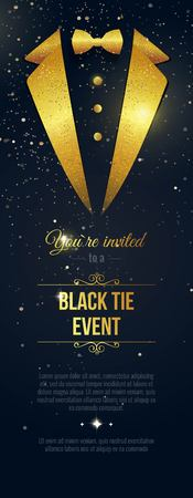 Vertical Black Tie Event Invitation. Businessmen banner. Elegant black card with golden sparkles. Black banner with businessman suit. Vector illustration