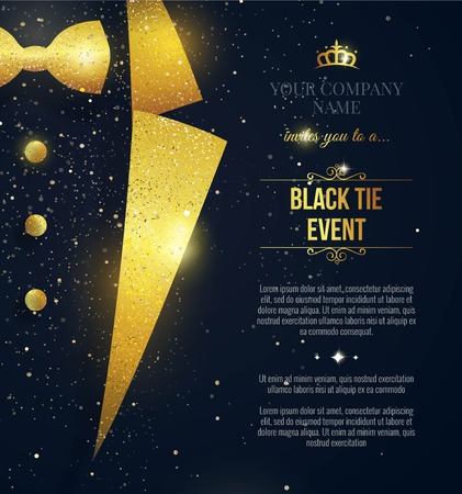 Black Tie Event Invitation. Elegant black  card with golden sparkles. Vector illustration Çizim