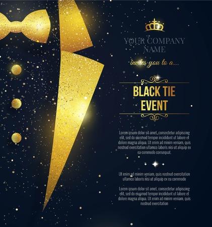 Invitación de evento de corbata negra. Elegante tarjeta negra con destellos dorados. Ilustración vectorial
