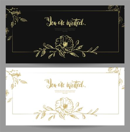 Set of graceful floral cards template design. You are invited gold  lettering design with floral elements. Black and white invitation posters with gold flowers. Vector illustration