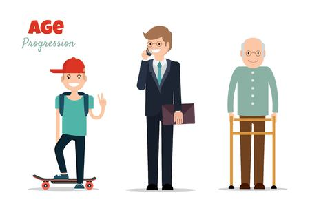 Different age groups of european man. Generations man. Stages of development man - infancy, childhood, maturity, old age. Vector flat illustration Illustration