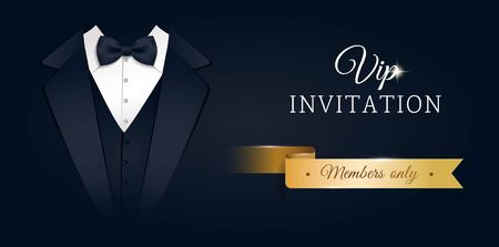 royal person: VIP premium horizontal invitation card.  Black banner with businessman suit and tie. Black and golden design template. Vector illustration