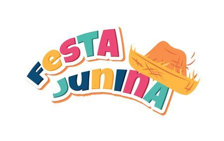 Festa Junina party greeting card. Traditional Brazil june festival. Vector illustration