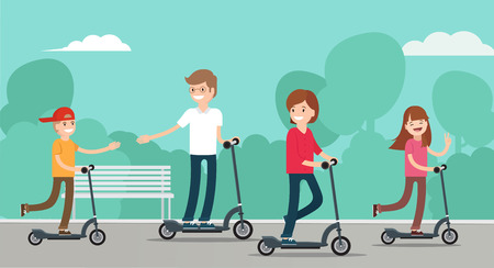 Happy family riding scooters in the park. Family with kids concept. Vector flat style illustration