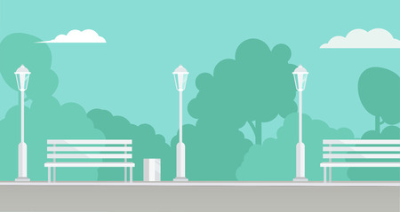Public Park background. Picture of a city park with bench and  park lamppost, with bushes and trees on background. Vector flat illustration