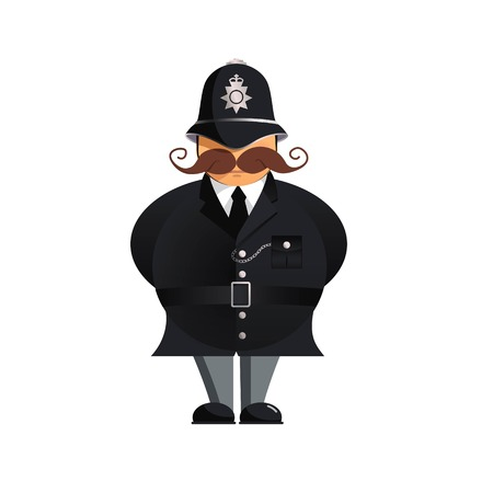 British policeman - funny vector illustration