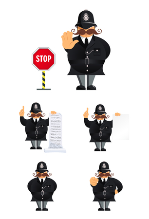 Set of policeman characters in different poses