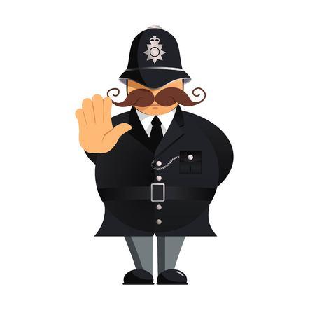 Police Officer making stop gesture. Vector cartoon illustratiom Illustration