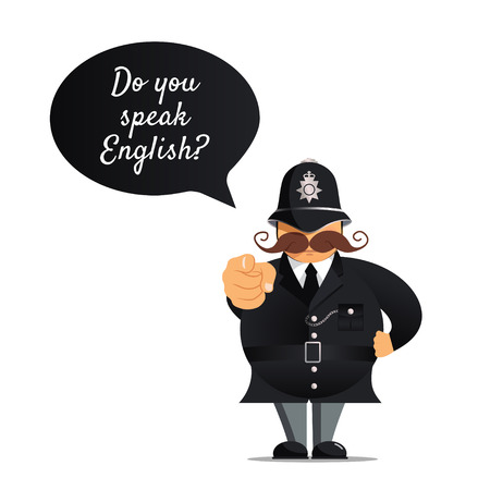 communication cartoon: Vector illustration - Police officer pointing at you. Do you speak english concept. Concept of learning English.
