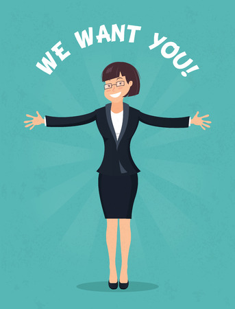 Smiling office worker standing full length with her arms stretched out giving a big hug. We want you concept, hr Illustration