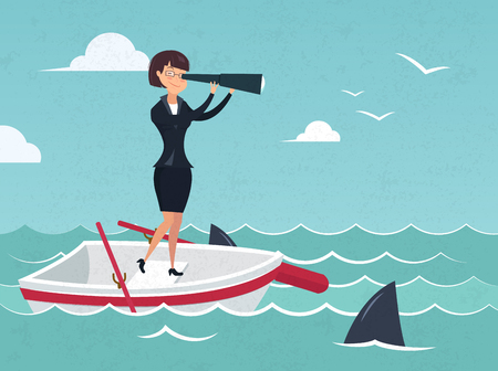 Vector illustration of businesswoman on boat watching through telescope Search for opportunities. Concept business illustration