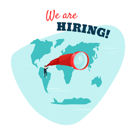 We are hiring. Businessman looking through a telescope. HR concept