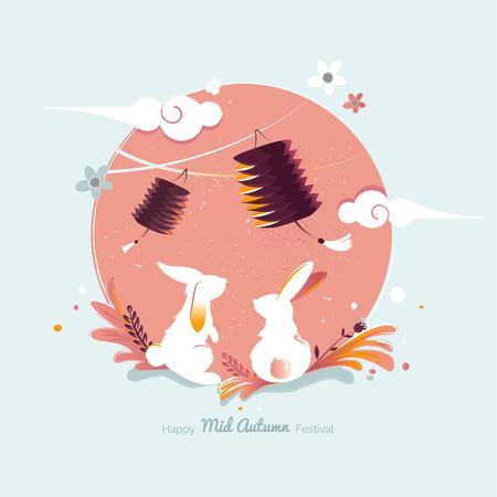 Chinese mid Autumn Festival design. Holiday background with rabbits, floral elements and lanterns. Vector illustration. Illusztráció
