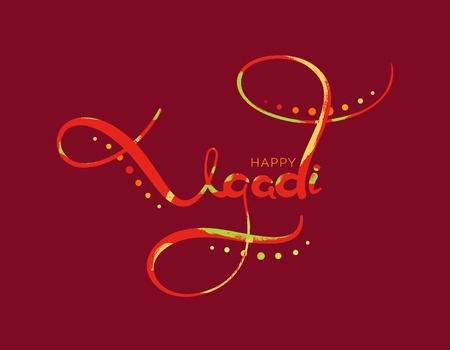 Ugadi handwritten lettering typography. Happy Ugadi greeting text with brush strokes. Colorful vector illustration.