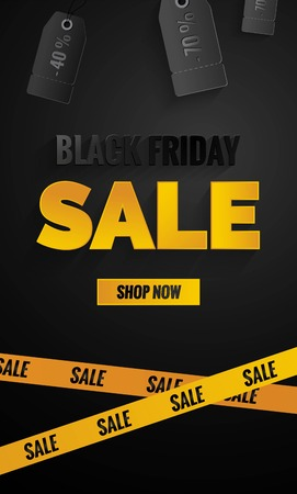 end of a long day: Black friday sale black and yellow banner.Sale poster with price tags and yellow caution tape.    Vector illustration.