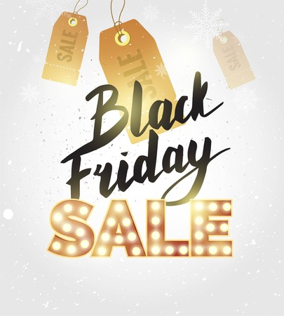 Black friday sale banner. Black Friday retro light background with snow and snowflakes. Vector illustration Illustration