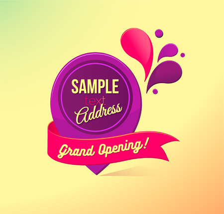 Grand opening sticker with ribbon. Marker location icon. Colorful advertising  banner. Vector illustration.  イラスト・ベクター素材