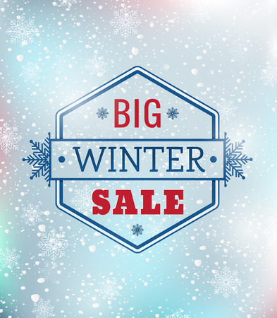 consist: Big winter sale typography poster - Vector illustration. All elements can be edited to fit your layout.Colorful background consist of several separate layers.Eps 10 Illustration